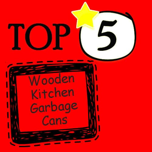 wooden kitchen garbage cans