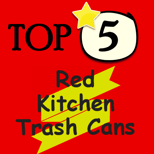 red kitchen trash can