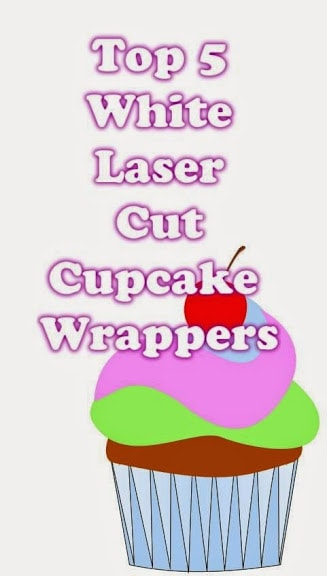 white laser cut cupcake wrappers