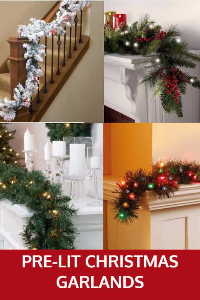 Pre Lit Christmas Garlands for Mantles and Banisters