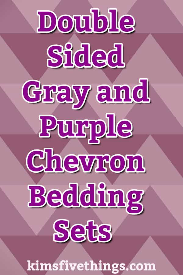 Double Sided Gray and Purple Chevron Bedding Set