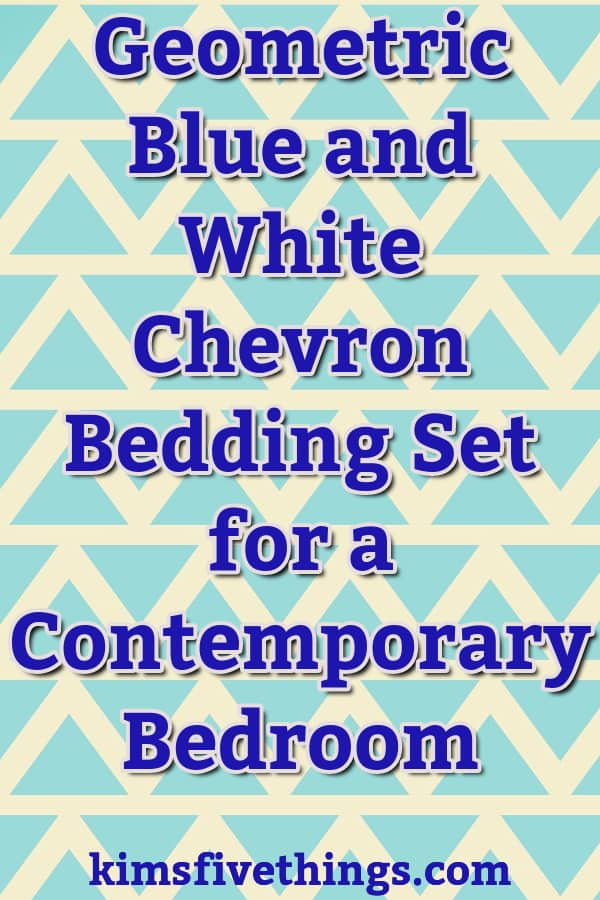 Geometric Blue and White Chevron Bedding Set for a Contemporary Bedroom